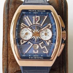 1:1 Mirror Best Replica Franck Muller Vanguard Yachting Watch Rose Gold Case Blue Dial Swiss Made SFR050