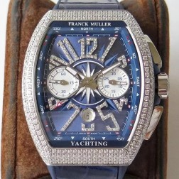 1:1 Mirror Best Replica Franck Muller Vanguard Yachting Watch Diamonds Case Blue Dial Swiss Made SFR051