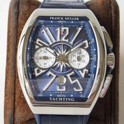 1:1 Mirror Best Replica Franck Muller Vanguard Yachting Watch Blue Dial Swiss Made SFR052