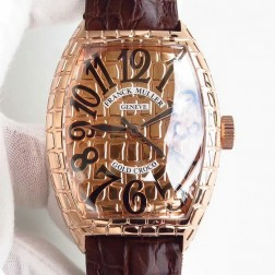 High End 1:1 Mirror Replica Franck Muller Gold Croco Watch Rose Gold Grid Case Swiss Made SFR057