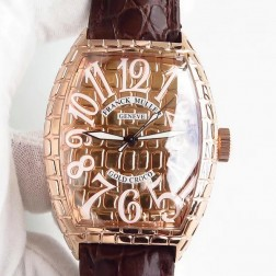 High End 1:1 Mirror Replica Franck Muller Gold Croco Watch Rose Gold Grid Case Swiss Made SFR058