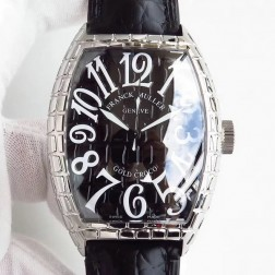 High End 1:1 Mirror Replica Franck Muller Gold Croco Watch Grid Case Black Dial Swiss Made SFR060