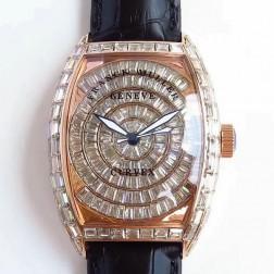 High End 1:1 Mirror Replica Franck Muller CURVEX Watch Diamonds Rose Gold Case Swiss Made SFR062