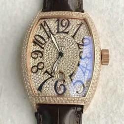 High End 1:1 Mirror Replica Franck Muller Diamonds Rose Gold Case Watch Swiss Made SFR064