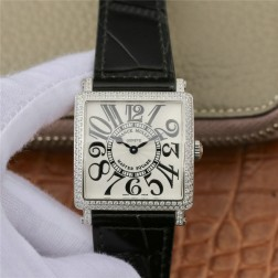 1:1 Mirror Replica Ladies Franck Muller Master Square Watch Diamonds Case White Dial Swiss Made SFR070