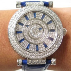 Replica Ladies Franck Muller DOUBLE MYSTERY Diamonds Dial Blue Straps Swiss Made 1:1 Mirror SFR078