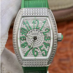 1:1 Mirror Replica Ladies Franck Muller Vanguard Diamond Case and Dial Green Straps Swiss Made SFR104