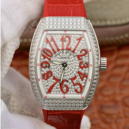 1:1 Mirror Replica Ladies Franck Muller Vanguard Diamond Case and Dial Red Straps Swiss Made SFR105