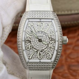 1:1 Mirror Replica Ladies Franck Muller Vanguard Diamond Case and Dial White Straps Swiss Made SFR106