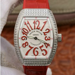 1:1 Mirror Replica Ladies Franck Muller Vanguard Diamond Case White Dial Red Straps Swiss Made SFR107