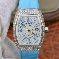 1:1 Mirror Replica Ladies Franck Muller Vanguard Diamond Case White Dial Blue Straps Swiss Made SFR108