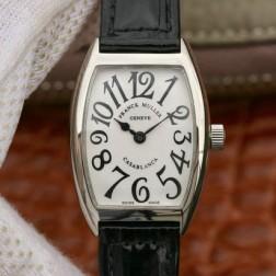 Replica Ladies Franck Muller CASABLANCA White Dial Black Straps Swiss Made 1:1 Mirror SFR111
