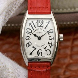 Replica Ladies Franck Muller CASABLANCA White Dial Red Straps Swiss Made 1:1 Mirror SFR112