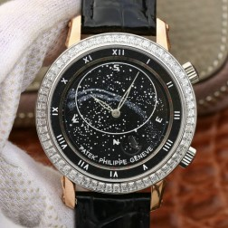 Best 1:1 Mirror Replica Patek Philippe Celestial 5102G Moonphase Rose Gold Watch Black Dial SPP005