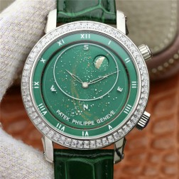 Best 1:1 Mirror Replica Patek Philippe Celestial 5102G Moonphase Watch Green Dial SPP007