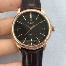Best Swiss Made Replica Rolex Cellini 50509 Rose Gold Case Black Dial 1:1 Mirror Quality SRC101