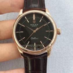 Best Swiss Made Replica Rolex Cellini 50509 Rose Gold Case Black Dial 1:1 Mirror Quality SRC101