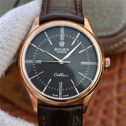 Best Swiss Made Replica Rolex Cellini 50509 Rose Gold Case Black Dial 1:1 Mirror Quality SRC103