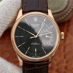 Best Swiss Made Replica Rolex Cellini 50519 Rose Gold Case Black Dial 1:1 Mirror Quality SRC108