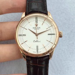 Best Swiss Made Replica Rolex Cellini 50509 Rose Gold Case White Dial 1:1 Mirror Quality SRC112