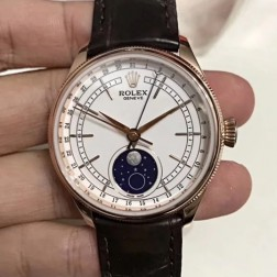Best Swiss Made Replica Rolex Cellini 50535 Rose Gold Case White Dial 1:1 Mirror Quality SRC113