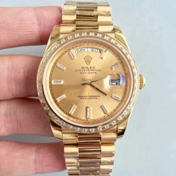 New Swiss Made Rolex Day-Date II 218399 Yellow Gold Case and Dial Diamonds Bezel 1:1 Mirror Quality SRDD001