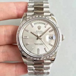 New Swiss Made Rolex Day-Date II 218399 Silver Dial Diamonds Bezel 1:1 Mirror Quality SRDD002