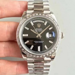 New Swiss Made Rolex Day-Date II 218399 Black Dial Diamonds Bezel 1:1 Mirror Quality SRDD003
