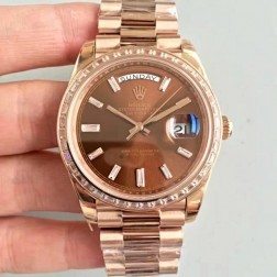 New Swiss Made Rolex Day-Date II 218399 Rose Gold Case Chocolate Dial Diamonds Bezel 1:1 Mirror Quality SRDD004