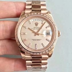 New Swiss Made Rolex Day-Date II 218399 Rose Gold Case and Dial Diamonds Bezel 1:1 Mirror Quality SRDD005