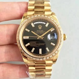 New Swiss Made Rolex Day-Date II 218399 Yellow Gold Case Black Dial Diamonds Bezel 1:1 Mirror Quality SRDD006