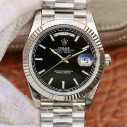 New Best Swiss Made Rolex Day-Date II Black Dial Fluted Bezel 1:1 Mirror Quality SRDD007