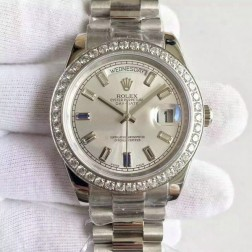 New Swiss Made Rolex Day-Date II Silver Dial with Diamonds Bezel 1:1 Mirror Quality SRDD008