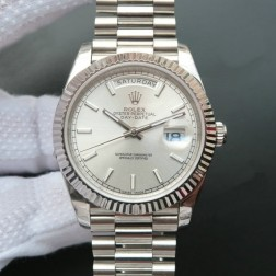 New Best Swiss Made Rolex Day-Date II Silver Dial Fluted Bezel 1:1 Mirror Quality SRDD009