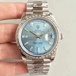 New Swiss Made Rolex Day-Date II 218399 Blue Dial Diamonds Bezel 1:1 Mirror Quality SRDD010