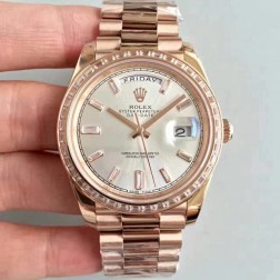 New Swiss Made Rolex Day-Date II 218399 Rose Gold Case Silver Dial Diamonds Bezel 1:1 Mirror Quality SRDD011