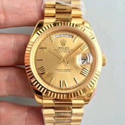 New Swiss Made Rolex Day-Date II 228238 18k Yellow Gold Case and Dial Fluted Bezel 1:1 Mirror Quality SRDD129