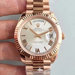 New Swiss Made Rolex Day-Date II 228235 Rose Gold Case Silver Dial Fluted Bezel 1:1 Mirror Quality SRDD137