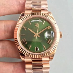 New Swiss Made Rolex Day-Date II 228235 Rose Gold Case Green Dial Fluted Bezel 1:1 Mirror Quality SRDD138