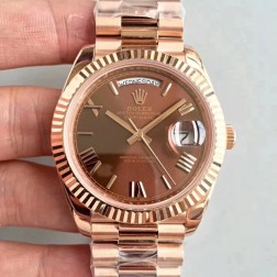 New Swiss Made Rolex Day-Date II 228235 Rose Gold Case Chocolate Dial Fluted Bezel 1:1 Mirror Quality SRDD139