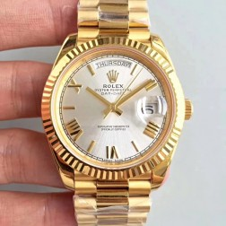 New Swiss Made Rolex Day-Date II 228238 Yellow Gold Case Silver Dial Fluted Bezel 1:1 Mirror Quality SRDD140