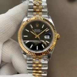 Replica Rolex Datejust II Men Watch Black Dial 18k Yellow Gold Bezel Jubilee Bracelet SRDJ018