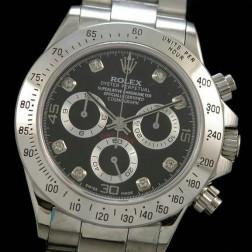 New 1:1 Mirror Replica Rolex Daytona 116520 Black Dial with Diamonds Markers Genuine Swiss Made SRDT004
