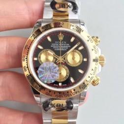 Swiss Made Replica Rolex Daytona 18k Yellow Gold Two Tone Black Dial 1:1 Mirror Quality SRDT012