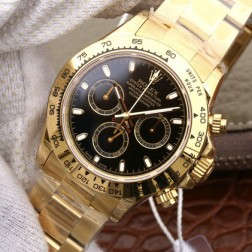 Swiss Replica Rolex Daytona 116508 Yellow Gold Case Black Dial 1:1 Mirror Quality SRDT014