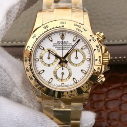 Swiss Replica Rolex Daytona 116508 Yellow Gold Case White Dial 1:1 Mirror Quality SRDT015