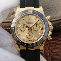 Swiss Replica Rolex Daytona m116518ln-0036 Yellow Gold Case and Dial With Diamonds 1:1 Mirror Quality SRDT027