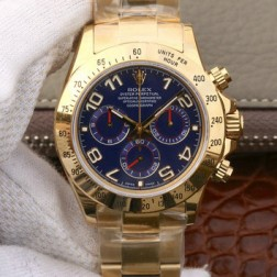 Swiss Replica Rolex Daytona 116528 Yellow Gold Case Blue Dial with Arabic Markers 1:1 Mirror Quality SRDT029