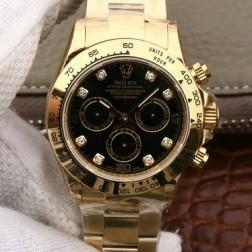 Swiss Replica Rolex Daytona 116508 Yellow Gold Case Black Dial with Diamonds 1:1 Mirror Quality SRDT031