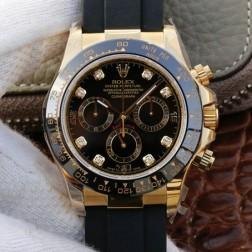 Swiss Replica Rolex Daytona m116518ln-0038 Yellow Gold Case and Black Dial with Diamonds 1:1 Mirror Quality SRDT032